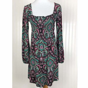Bisou Bisou Long Sleeve Silky Dress Sz M